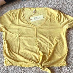 Yellow elan tie blouse